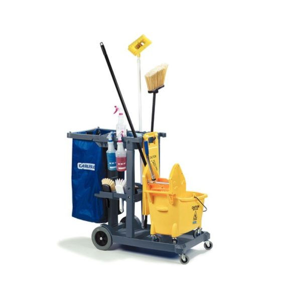 carlisle-jc1945s23-gray-short-platform-janitor-cart