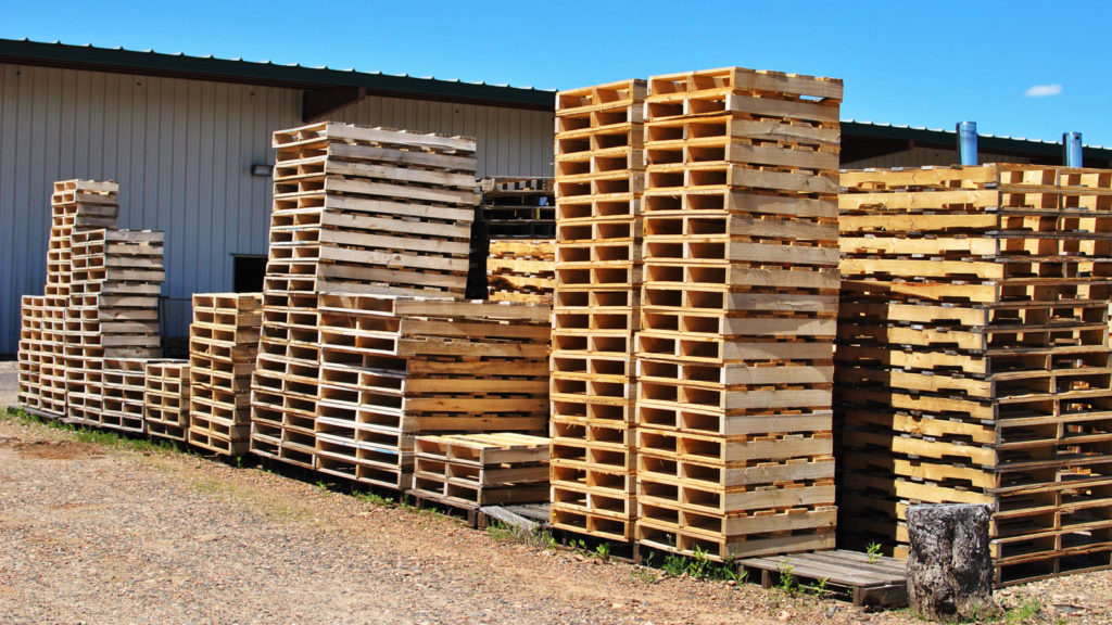 Exterior shot of pallet stacks at our Buhl production facility