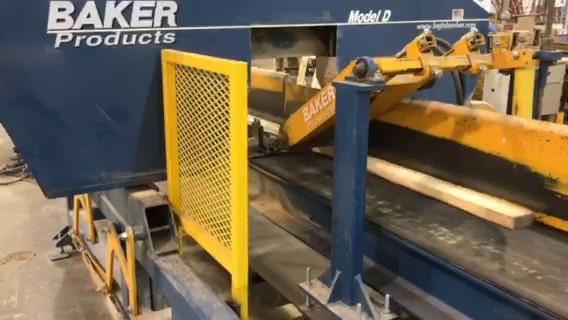 Lumber going through Baker Model D resaw