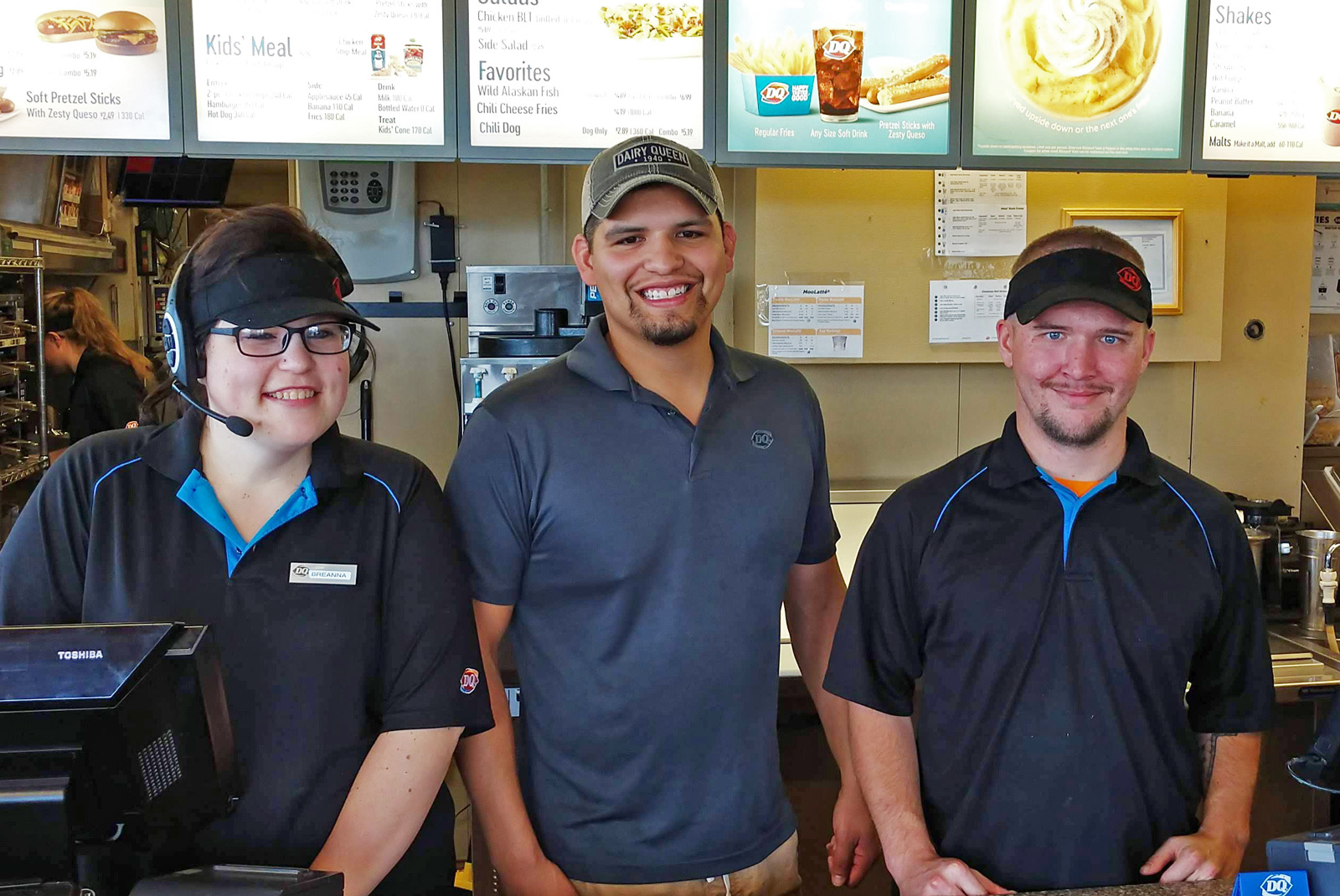 Closeup of individuals employed by a local Dairy Queen in Roseau